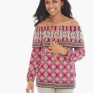 Chico's Ethnic Tempo Off The Shoulder Top Size M